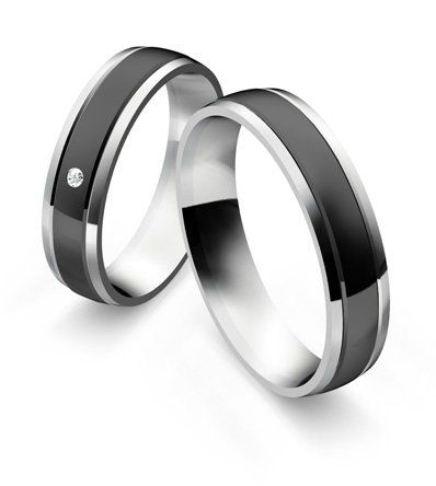 Stainless Steel Wedding Rings with Black Ceramic Diamond 0.0200 ct W/Si