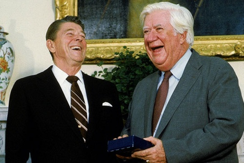 """Ronald Reagan and Tip O'Neill    Liberal Speaker of the House Thomas """"Tip"""" O'Neill frequently butted heads with President Ronald Reagan. Asked if he knew about the latest video game craze, Pac-Man, Reagan replied: """"Someone told me it was a round thing that gobbled up money. I thought it was Tip O'Neill."""" O'Neill called the Reagan administration """"one big Christmas party for the rich."""" While they fought legendary battles, both men claimed the politicking ended at the close of the business day…"""