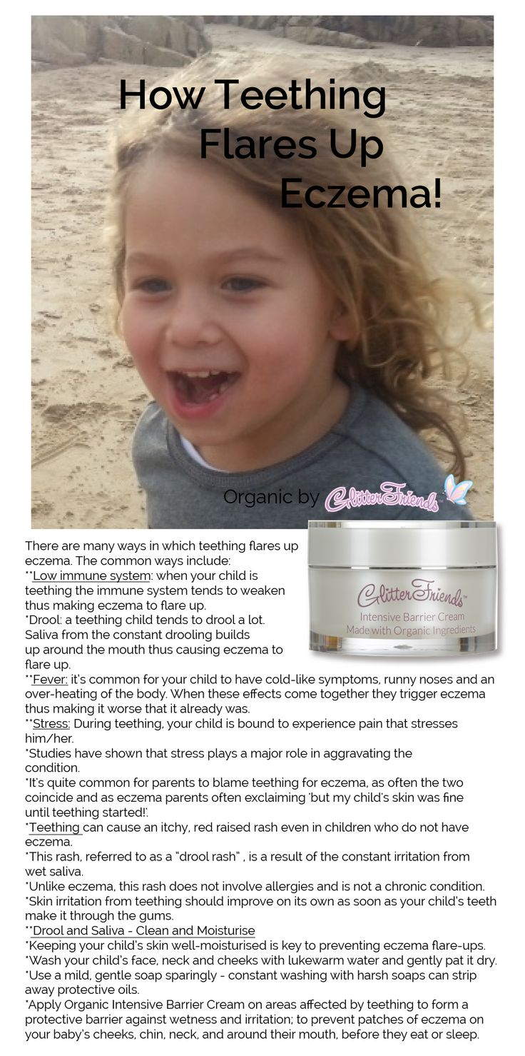 How Teething Flares Up Eczema!  Use Organic Intensive Barrier Cream on areas affected by teething to form a protective barrier against wetness and irritation; to prevent patches of eczema on your baby's cheeks, chin, neck, and around their mouth, before t