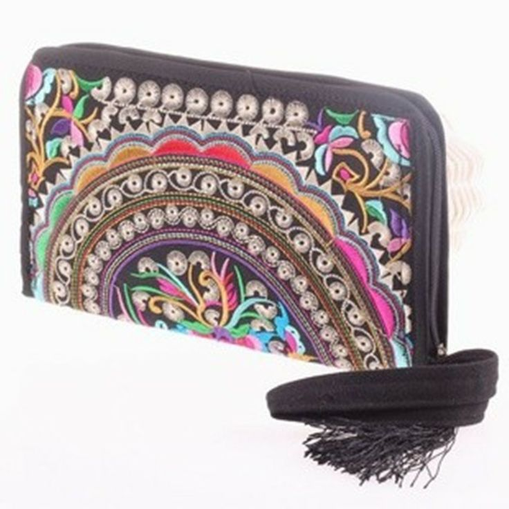 nacional de la mujer tendencia bolso monedero de la moneda de tela únicas bolsas bordadas