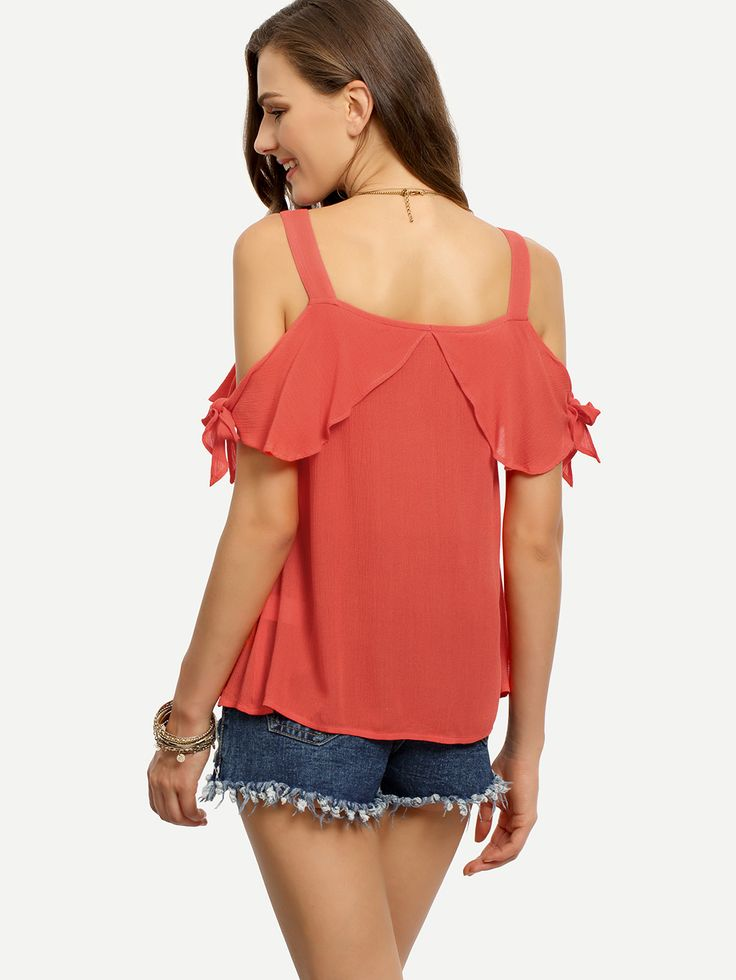 Blusa hombro frío suelta -rojo-Spanish SheIn(Sheinside)