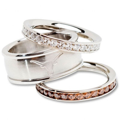 Texas Longhorns Logo Crystal Stacked Ring Set