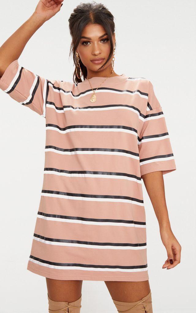 5ca52a9e31a Camel Striped Oversized Boyfriend T Shirt Dress