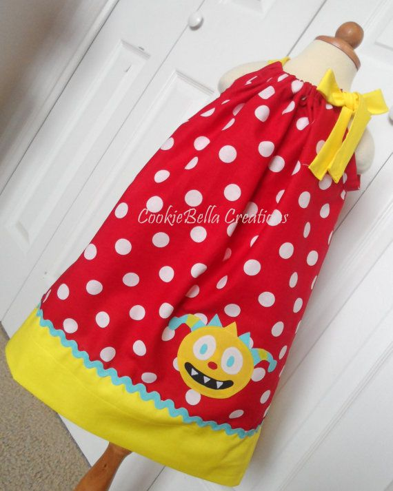 Henry Hugglemonster Red Aqua & Yellow pillowcase dress. Perfect for a birthday party or Disney trip.