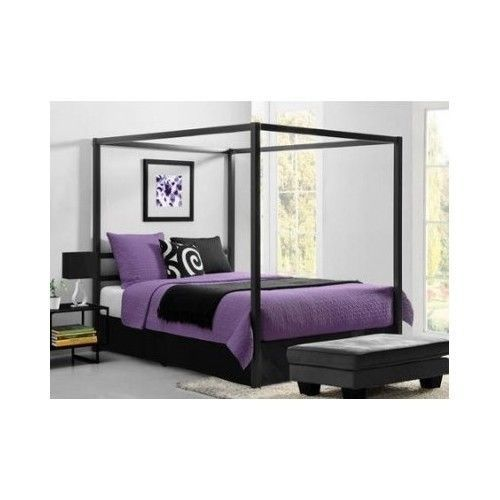 Queen Canopy Bed Frame Headboard Platform Modern Casters Vintage French Tubalar  #DorelHomeProducts
