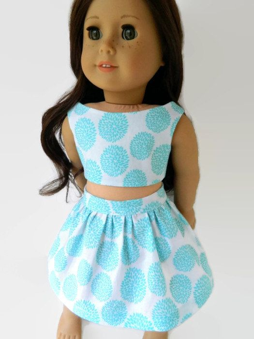 American Girl Doll Clothes - Turquoise and White Cotton Print Summer Set Skirt and Crop Top/Bustier by 18Boutique