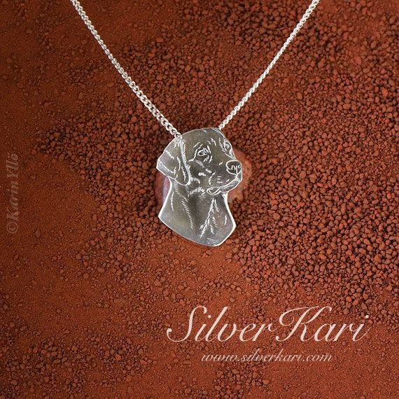 Labrador Retriever, pendant on a chain, all in sterling silver