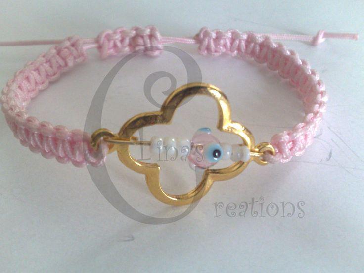Bracelet macrame pink cord cross tinas creation evil eye 16cm alloy gold plated #TinasCreations #macrameadjustablebracelet
