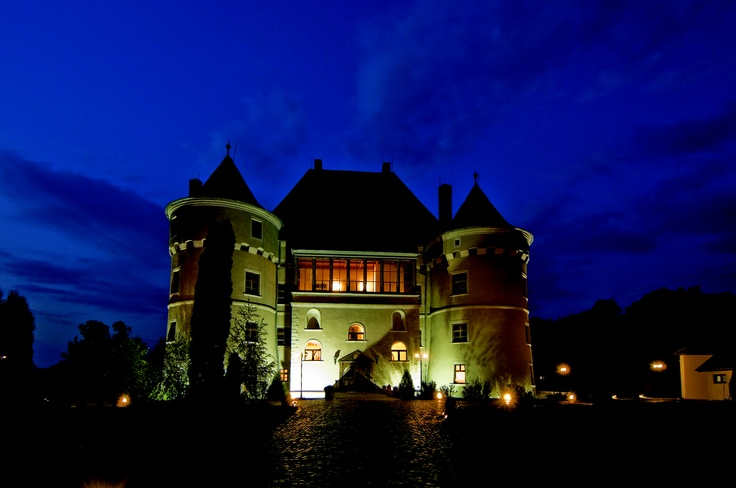 Jidvei wine castle by night.