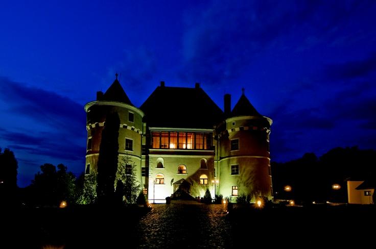 Jidvei wine castle by night.