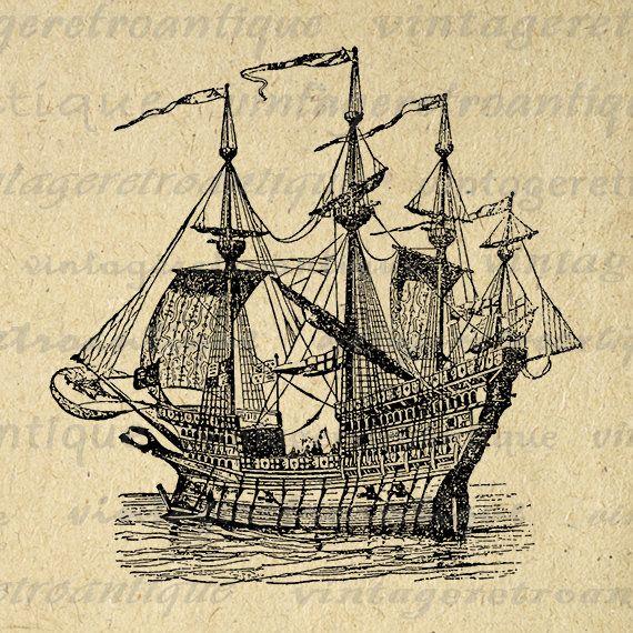 Ship Image Graphic Printable Antique Boat Download Digital Artwork Jpg Png Eps Print 300dpi No.2169 @ vintageretroantique.etsy.com #DigitalArt #Printable #Art #VintageRetroAntique #Digital #Clipart #Download #Vintage #Antique #Image #Illustration