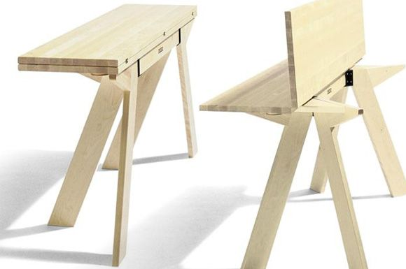 Collapsible dinning table. I love this idea. Would be great to have for big family dinners.