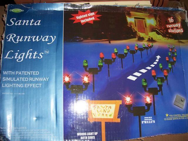 Santa Runway Lights Set Up And Flashing Christmas