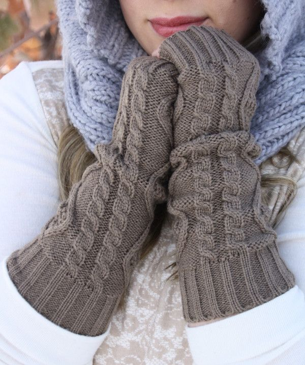 Long Knitted Fingerless Mittens