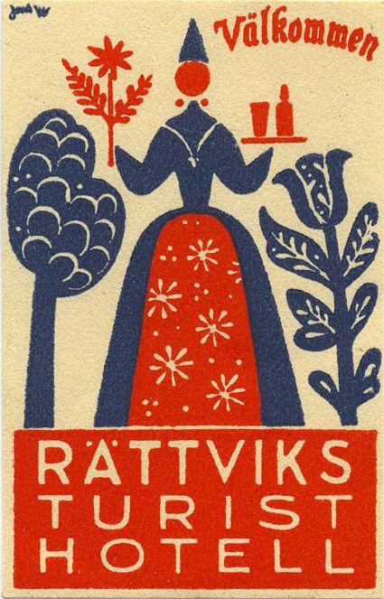 Luggage label, Rattviks Sweden tourist hotel, via Flickr