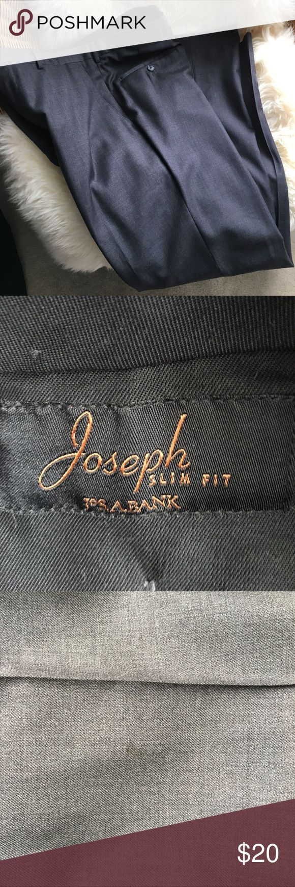 """Men's Joseph A Bank slim fit trousers/slacks/suit These are 100% lightweight wool. Very good condition -- see photos of small stain at leg and clasp wear. I have not tried to remove this stain but I believe it will come out with cleaning and is very faint. They have been custom hemmed to 30.5 inch inseam but can be lengthened (see photo) the size tag is not in but measures 17""""across waist band Joseph Pants Dress"""