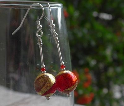 Lakeland Sunsets | Firefrost Designs  Beautiful Red and Gold Swirl earrings to match our Lakeland Sunsets Pendant,limited edition for Winter 2014.  £23.95