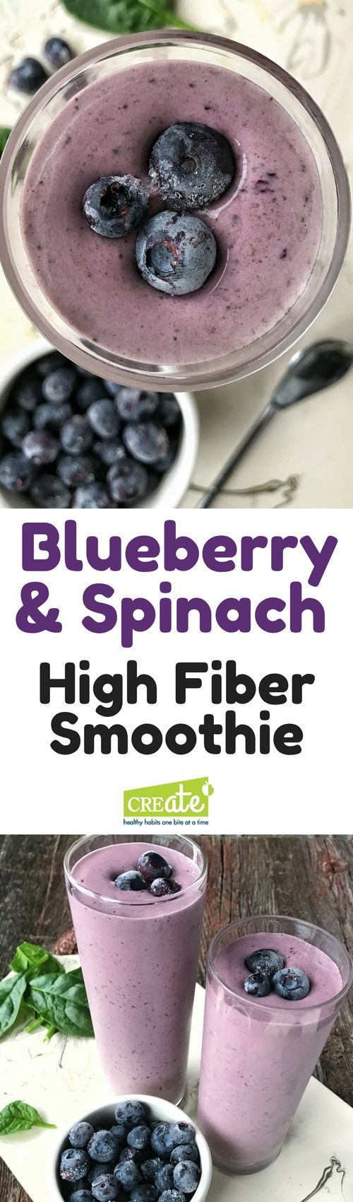 High Fiber Recipes: A superfood smoothie that is packed with nutrition. Blueberries, banana, and spinach blend together in a delicious and high fiber smoothie perfect for breakfast. Made with yogurt and honey, this is a must try recipe. A high fiber meal. via createkidsclub.com via @http://www.pinterest.com/createkidsclub