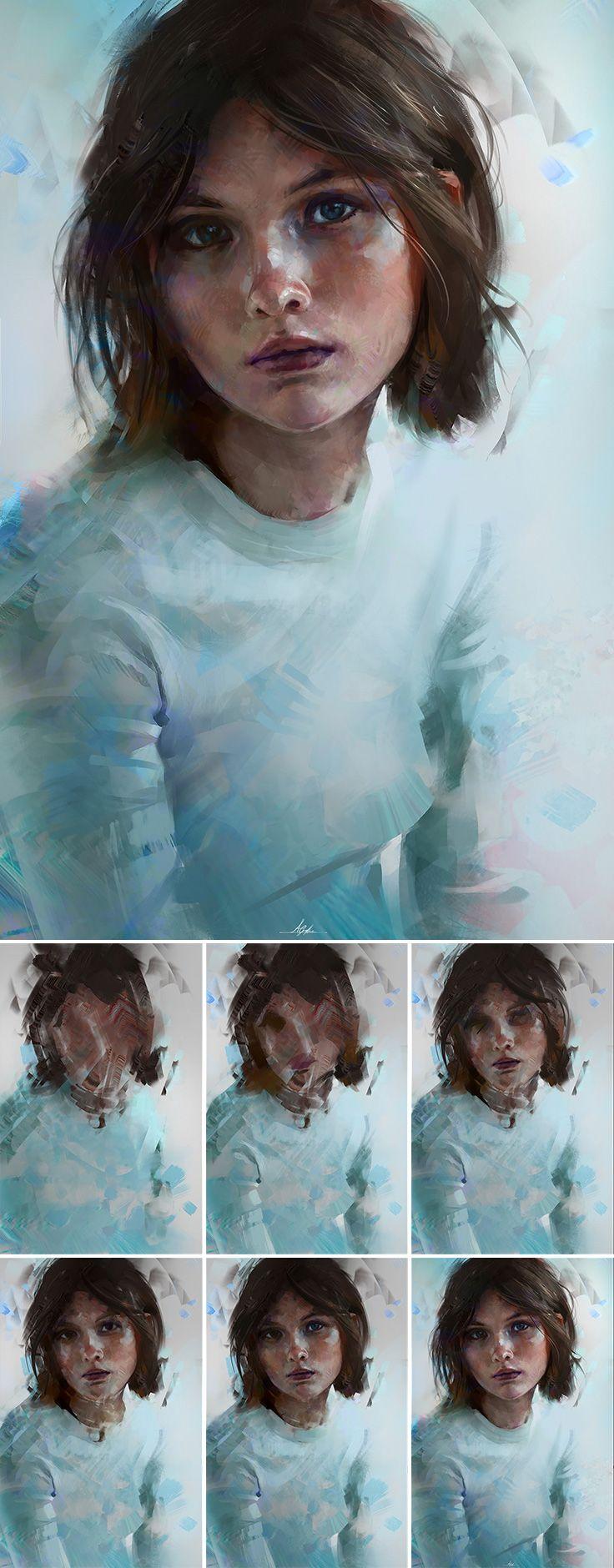 """Portrait Colour Study"" -Aaron Griffin {figurative #expressionist art female head woman face digital painting with progr…"