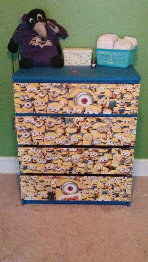 Minion dresser. Total cost $50 minus chalk paint powder
