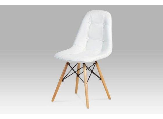 Jídelní židle bílá, dřevěné nohy. Š/V/H: 46/81/40 cm