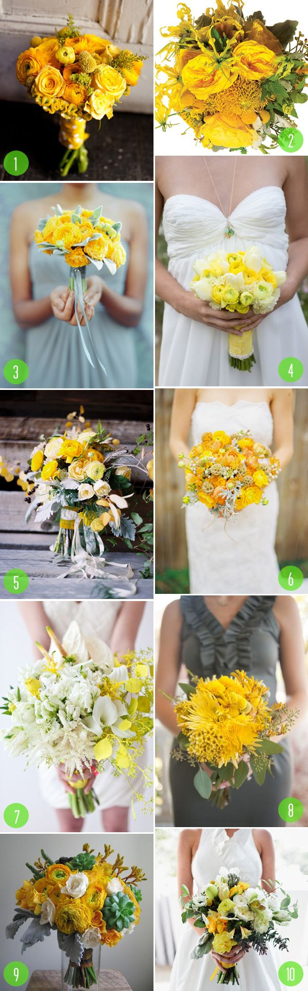 top 10: modern yellow bouquets
