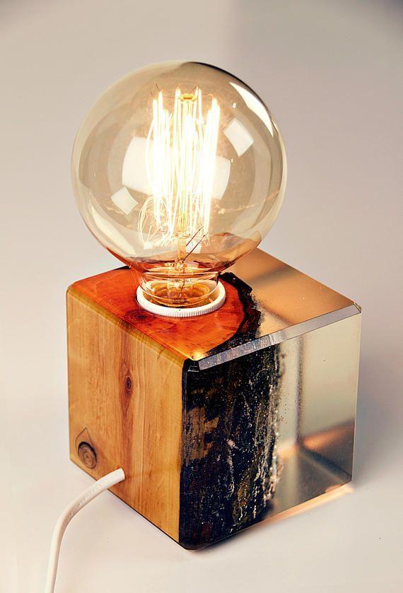 Erlenholz eingetaucht in Epoxidharz Lampe Warm Lig…