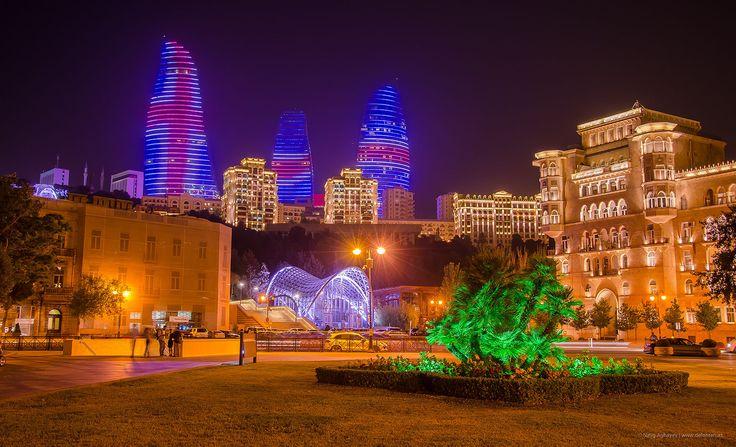 Baku City Funicular and Flame Towers at Night