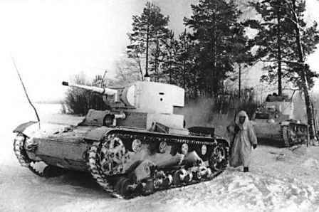 T-26 light tank near Moscow, Russia, late 1941