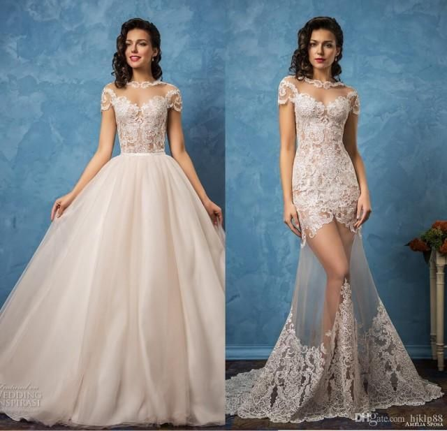 Vintage Amelia Sposa 2017 Sexy Wedding Dresses Detachable See through Lace Applique Bridal Gowns Backless Sheer Lace A-line Wedding Dress Lace Luxury Illusion Online with $188.58/Piece on Hjklp88's Store