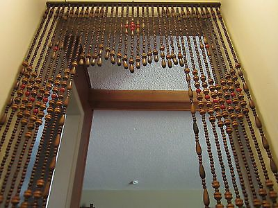 Vintage 1960 S Mid Century Wood Bead Door Curtain