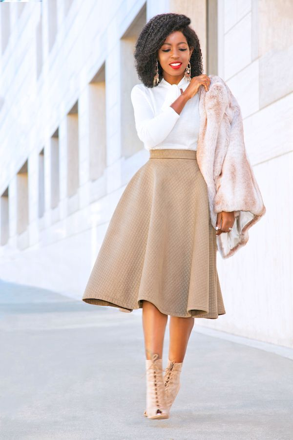 Women's Clothing – Faux Fur Jacket + Sweater with Front Tie + Midi Skirt with Quilt