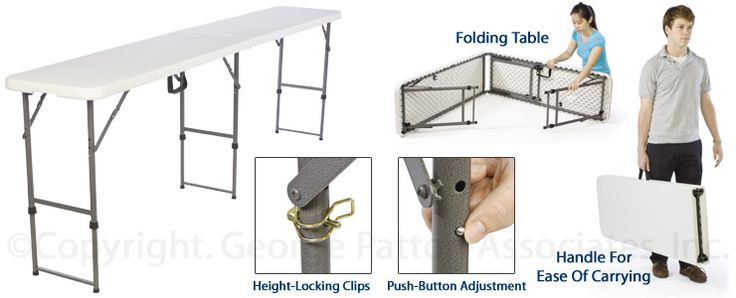 Folding Table, Height Adjustable - White Folding Tables, Legs ...