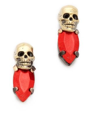 Iosselliani Fused Stone Skull Stud Earrings - $153AU