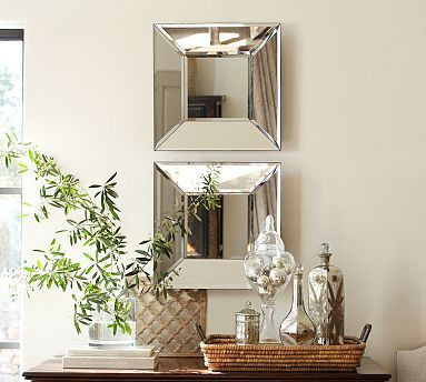 Bevel Mirror #potterybarn, I need to buy another one of these mirrors to create this vignette