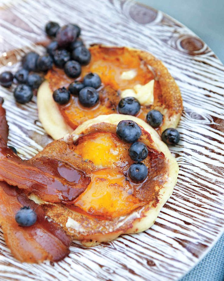 We served these pancakes with crisp bacon and fresh blueberries.