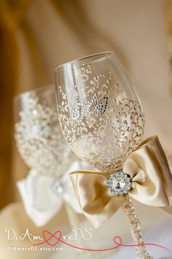 Ivory and champagne wine flutes, bride and groom, wedding wine glasses…
