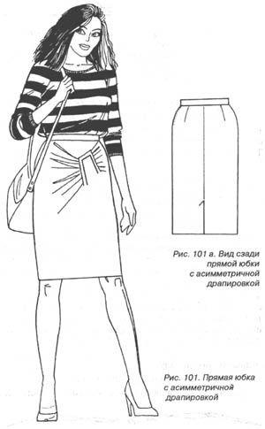 Прямая юбка с асимметричной драпировкой