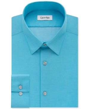 Calvin Klein Steel Men's Slim-Fit Non-Iron Performance Herringbone Dress Shirt - Blue 15.5 32/33
