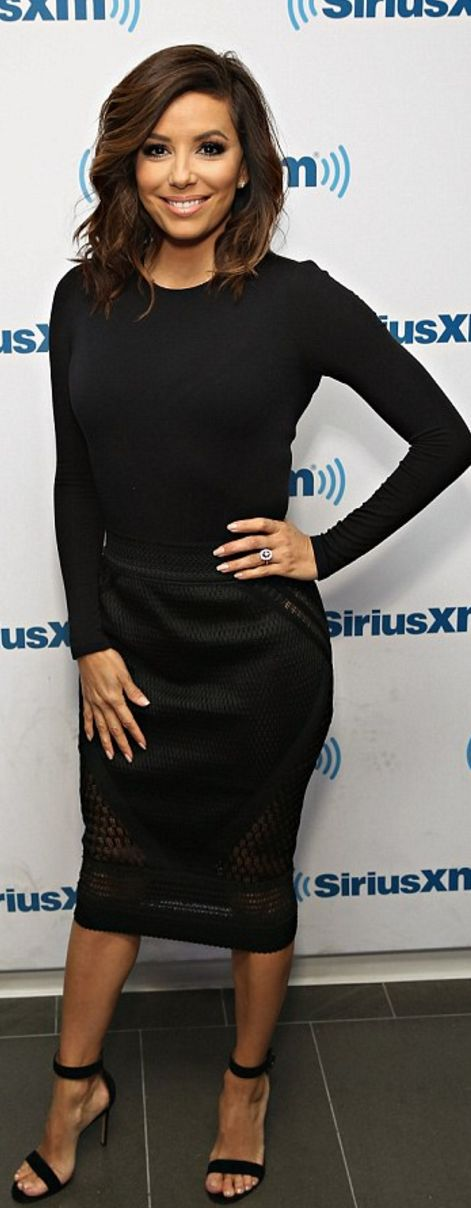 Who made  Eva Longoria's black sandals and mesh skirt?