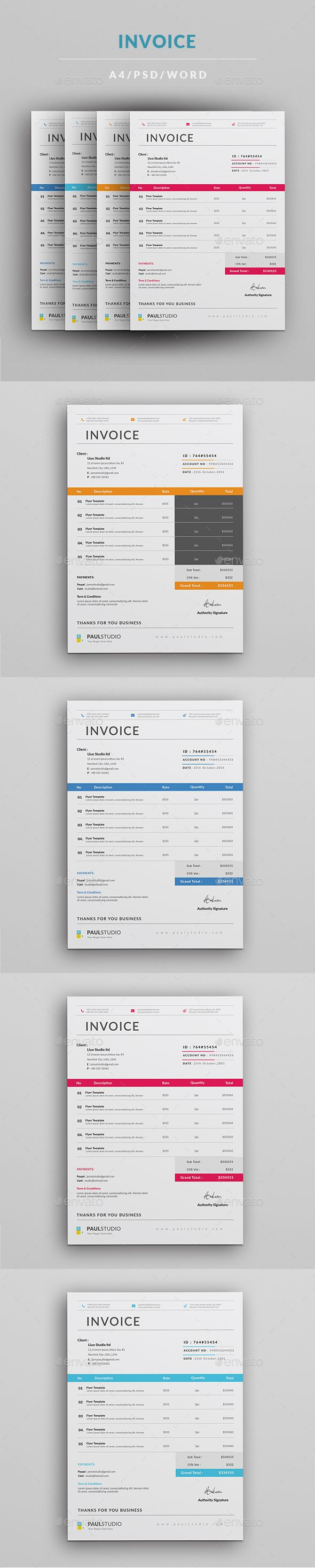 #Invoice - #Proposals & Invoices #Stationery Download here: https://graphicriver.net/item/invoice/19162953?ref=alena994