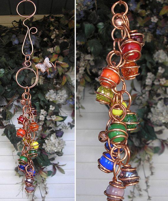 Double Rainbow Butterfly/libellule verre cuivre Gypsy Wind Chimes / Windchime…