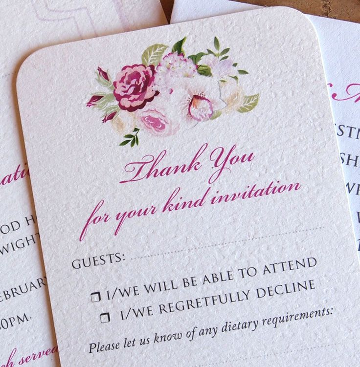 Orchid Wedding Reply Card - New Orchid & Rose design in deep pinks and creams.