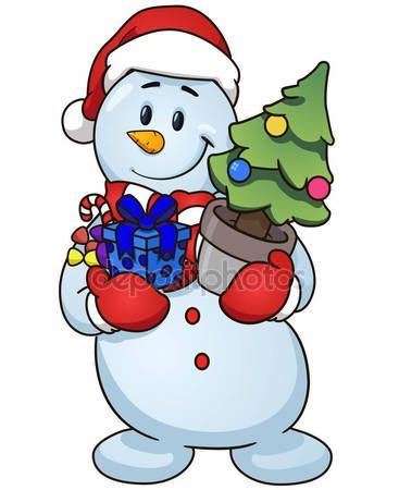 Cartoon snowman holding Christmas tree and gifts. Vector clip art illustration simple gradients — Stock Vector © Finalpanda #133489056