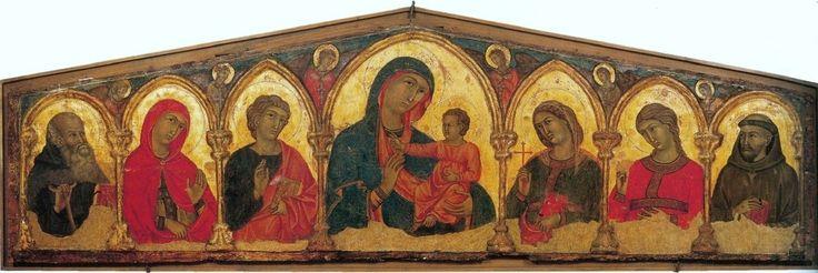 https://upload.wikimedia.org/wikipedia/commons/e/e0/Memmo_di_Filippuccio._Madonna_and_Child_with_Saints._End_of_13th_century%2C_Oristano%2C_Arcivescovado.jpg Мадонна с младенцем, св. Антонием-аббатом, св. Кларой, Иоанном Богословом, св. Цецилией, св. Доротеей и св. Франциском. Ористано, Архиепископство.