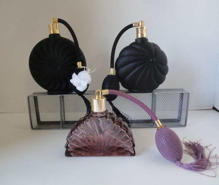 Perfume Bottles c/w Atomizers Three (3) Exquisite Collectible  Bottles