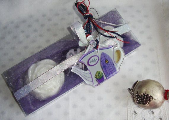 Tea Party Gift Set.  For Tea Lovers, a Unique Holiday gift.  A Luxury Purple Holiday Handmade Gift Set with three small Glycerin Scented Soaps and an awesome handmade glass Christmas Charm for Good Luck ( which looks like a Teapot) in the packaging!!! An invitation to a Holiday par-TEA! A wonderful Bubble Tea Spa Set with lovely luxury gorgeous smelling soaps to provide as a Hostess Gift or as a little treat for your guests when they are visiting!!