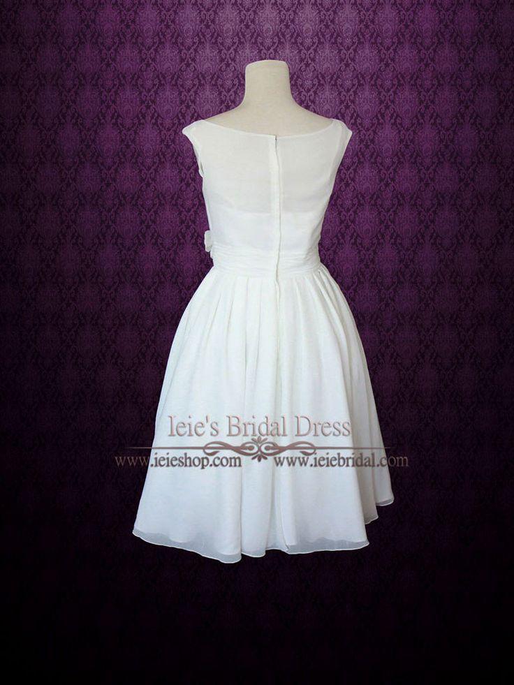 Simple yet elegant modest retro 50s knee length ivory for Ivory tea length wedding dress