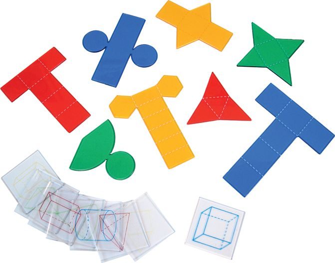 (3) Overhead folding geometric shapes  Use to teach visualization and spatial reasoning in measurement, area, volume and surface area concepts.   Shapes include cylinder, square, pyramid, cube, rectangular prism, triangular prism, cone, hexagonal prism and triangular pyramid.