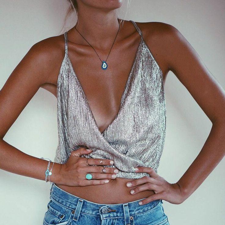 Metallic Silver Deep V-neck Sling Crop Top Mini Shirt Sexy Clubwear – Lupsona